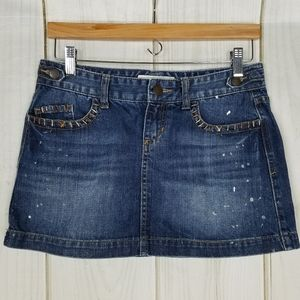 Maurices Paint Distressed Jean Mini Skirt